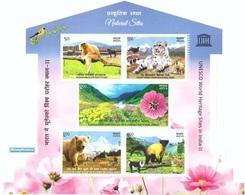 India 2020 UNESCO World Heritage Flora Fauna Miniature Souvenir Sheet Block MNH - Blocks & Kleinbögen