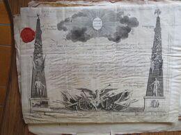 """Révolution: Brevet De Garde Nationale Parisienne 1792, Cachet """"section Des Tuileries""""  5e Lég.  9e Bat Cie Des Chasseurs - Historische Dokumente"""