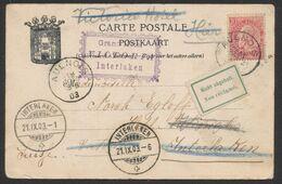 """Fine Barbe - N°58 SBD Sur CP Vue (Mons) Expédié De Aulnois (1903) > Interlaken (Suisse) + étiquette """"Non Réclamé"""" (Bilin - 1893-1900 Barbas Cortas"""