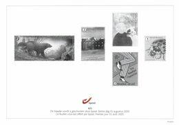 Belgium 2020 Black And White Sheetlet BPost 31-Aug-2020, Brown Bear Buzin, Abbey Chevetogne, Alzheimer, Jazz, Ladybug - Hojas Blanco & Negro