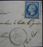 Sos Lot-et-Garonne 1862 Pc 2929 Sur N°14 + Cachet Tireté, Sur Lettre Pour Aiguillon - 1849-1876: Classic Period