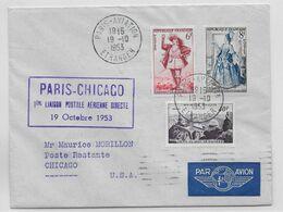 1953 - ENVELOPPE 1° LIAISON POSTALE AERIENNE DIRECTE PARIS => CHICAGO (USA) - 1927-1959 Brieven & Documenten