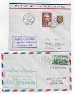 1953 - ENVELOPPES 1° LIAISON POSTALE AERIENNE DIRECTE PARIS => CHICAGO (USA) ALLER ET RETOUR - 1927-1959 Brieven & Documenten