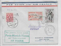 1954 - ENVELOPPE 1° LIAISON AERIENNE PARIS => MUNICH => VIENNE (AUTRICHE) Par AIR FRANCE - TAXE POSTE RESTANTE - 1927-1959 Brieven & Documenten