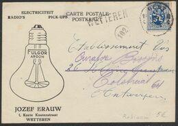 Lion Héraldique - N°285 Sur CP Publicitaire (Wetteren, Jozef Erauw Fulgor Argon, Lampe) Gent > Antwerpen, Griffe à L'ori - 1929-1937 León Heráldico