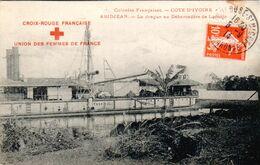 Carte 1914 ABIDJEAN / LA DRAGUE AU DEBARCADERE DE LOCODJO (croix Rouge Française) - Ivory Coast