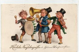 DC2270 - Ansichtskarte Neujahr Band Musizierende Kinder Trommel Geige Posaune Düsseldorf 1930 - Año Nuevo
