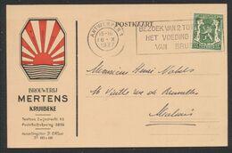 """35ctm Sur Postkaart """"Brouwerij Mertens Kruibeke"""" (Brasserie, St-Nicolas), Expédié De Antwerpen > Marbais - 1935-1949 Sellos Pequeños Del Estado"""