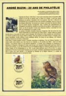 AB010 - André Buzin - 20 Ans De Philatélie 04.09.2004 - Souvenir Privé - 1985-.. Pájaros (Buzin)