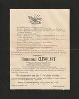 Emmanuel Clinquart / Paris 1843 Rongy 1923 / Membre Du Bureau De Bienfaisance, ..... - Overlijden
