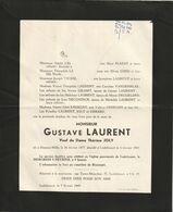 Gustave Laurent / Hamme-Mille 1877 - Lodelinsart 1949 / Veuf De Dame Thèrèse Joly - Overlijden