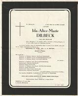 Ida-Alice-Marie DILBECK / Bierghes 1878 Rebecq-Rognon 1964 / Veuve Jules Halait - Overlijden
