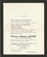 Alphonse Soupart / Décédé à Genval En 1969 à 84 Ans / Veuf De Dame Joséphine Hazard - Overlijden