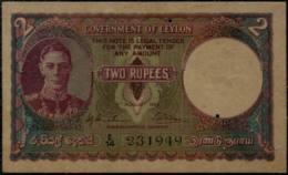 Ceylon King Gorge VI, 2 Rupee Banknote 1943 - Sri Lanka