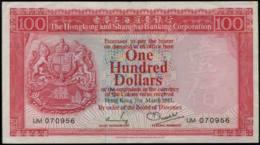 Hong Kong, $100. Hong Kong & Shanghai Banking Corp. Banknote 1981 - Hong Kong