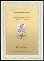 BRD - 1994 ETB 36/1994 - Mi 1763 - 1002Pf               500. Geb. Hans Sachs - FDC: Hojas