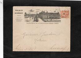 1902 - Enveloppe Illustrée GRAND HOTEL DE LA GARE DU QUAI D'ORSAY à PARIS / Au Dos Cachet Facteur Boitier LUNAY (Loir&C) - 1849-1876: Periodo Clásico