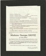Adèle Heraly / Glabais 1887 - Frasnes-lez-Gosselies 1963 / Epouse Georges Kaivez - Overlijden