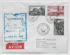 1956 - ENVELOPPE VOL INAUGURAL LUFTHANSA PARIS => NEW YORK - 1927-1959 Brieven & Documenten