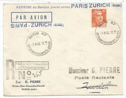 GANDON 10FR ORANGE SEUL LETTRE REC PROVISOIRE AVION PARIS RP AFFRANCHISSEMENTS AVION 7.8.1945 POUR SUISSE REPRISE AERIEN - 1945-54 Marianne De Gandon