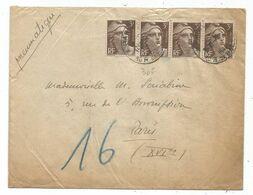 GANDON 3FR BRUNX4 PNEUMATIQUE PARIS 1946 TARIF 2EME - 1945-54 Marianna Di Gandon