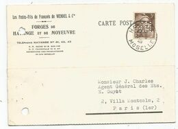 3 FR GANDON BRUN PERFORE WH CARTE Trou Archive PRIVEE FORGES WENDEL CIE FORGES HAYANGE MOYEUVRE MOSELLE 8.5.1946 - Perfins