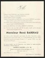 René Bardiau / Lillois-Witterzée 1902 - Leysin (Suisse) 1955 - Overlijden