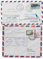 1958 - ENVELOPPES 1° LIAISON AERIENNE PARIS => TURIN (ITALIE) Par ALITALIA ALLER Et RETOUR ! - 1927-1959 Brieven & Documenten