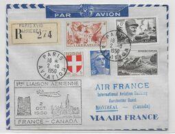 1950 - ENVELOPPE RECO 1° LIAISON AERIENNE FRANCE - CANADA De PARIS => MONTREAL Via AIR FRANCE - Erst- U. Sonderflugbriefe