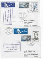 1958 - ENVELOPPES 1° LIAISON AERIENNE DIRECTE PARIS => QUITO (ECUADOR) => LIMA (PEROU) - 1927-1959 Brieven & Documenten