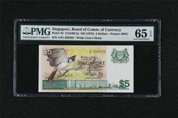 1976 Singapore Board Of Comm.of Currency 5 Dollars Pick#10 PMG 65 EPQ Gem UNC - Singapore