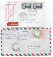 1957 - ENVELOPPES 1° LIAISON AERIENNE PARIS => MILAN => NAPLES Par ALITALIA - ALLER ET RETOUR ! - 1927-1959 Brieven & Documenten