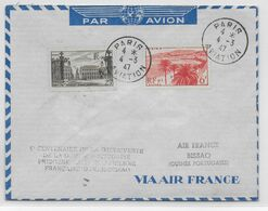 1947 - ENVELOPPE 1° LIAISON AERIENNE FRANCAISE DAKAR => BISSAO (GUINEE PORTUGAISE) Par AIR FRANCE - CACHET SPECIAL DOS ! - 1927-1959 Brieven & Documenten