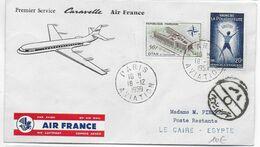 1959 - ENVELOPPE 1° VOL CARAVELLE AIR FRANCE De PARIS => LE CAIRE (EGYPTE) - 1927-1959 Brieven & Documenten