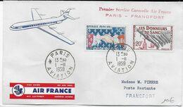 1959 - ENVELOPPE 1° VOL CARAVELLE AIR FRANCE De PARIS => FRANCFORT - 1927-1959 Brieven & Documenten