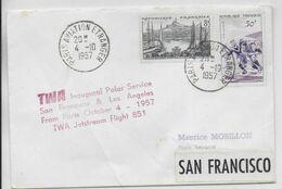 1957 - ENVELOPPE 1° VOL POLAIRE ! Par TWA De PARIS => SAN FRANCISCO Et LOS ANGELES (USA) - 1927-1959 Brieven & Documenten