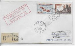 1958 - ENVELOPPE RECOMMANDEE 1° VOL LUFTHANSA LH 500 De PARIS => PORTO ALEGRE (BRESIL) - 1927-1959 Brieven & Documenten