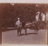 Photo Originale 1900  Cheval Et Cavalière Château De Bouillon Baulers ? - Orte