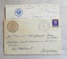 """Lettera Da """"Nave Reale Savoia"""" Per Bergamo 1932 - Marcofilie"""