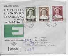 1953 - ENVELOPPE 1° LIAISON AERIENNE SABENA BRUXELLES => STRASBOURG - 1927-1959 Brieven & Documenten