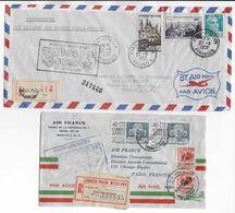 1952 - ENVELOPPES RECOMMANDEES 1° LIAISON AERIENNE AIR FRANCE PARIS => MEXICO ALLER Et RETOUR ! - 1927-1959 Brieven & Documenten