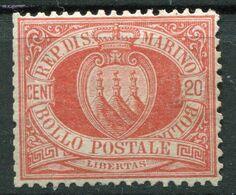 Repubblica Di San Marino - 1877 - 20 Centesimi Sass. 4 (senza Gomma) - Saint-Marin