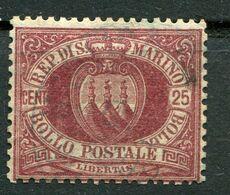 Repubblica Di San Marino - 1877 - 25 Centesimi Sass. 5 (senza Gomma) - Saint-Marin