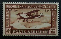 EGYPTE EGYPT 1926 Airmail Poste Aérienne ,Yvert No 2, Avion Biplan , 27 M Brun Rouge,  Neuf * MH TB - Posta Aerea