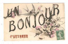 CPA Fantaisie 21 AUXONNE Un Bonjour D'Auxonne Hirondelle Fleurs Noeud 1908 - Auxonne