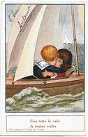 BERTIGLIA - Couple D'Enfants Dans Un Voilier - A TOUTES VOILES - CON TUTTE LE VELE - N. 2273 - Bertiglia, A.
