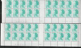 2181 20c EMERAUDE LIBERTE - 2 BAS DE FEUILLES De 20 - RGR1 Du 16.5.89 Cadre Sup.épais - RGR1 Du 15.01.90 (tirage Rare) - 1982-90 Liberty Of Gandon