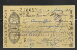 Macau Macao 1944 BNU Cheque - Assegni & Assegni Di Viaggio