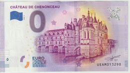 Billet Touristique 0 Euro Souvenir France 37 Chateau De Chenonceau 2020-2 N°UEAM013298 - Private Proofs / Unofficial