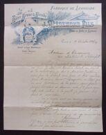 Correspondance Datée De 1905 Sur Papier à Entête De La Maison De Limonade J. Mégemond à Bort Les Orgues En Corrèze - Levensmiddelen
